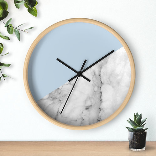 Wall clock, Marble and Blue Geometric Shapes