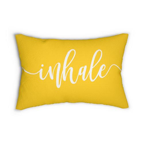 Inhale Exhale Yellow Lumbar Pillow