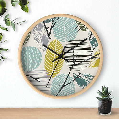 Modern Wall Clock  with fall leaves theme