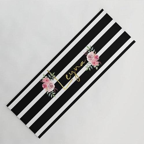 Personalized black stripes yoga mat
