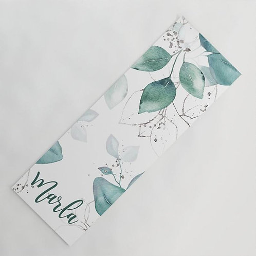Watercolor Leaves and Branches Yoga Mat