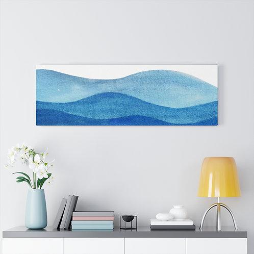 Blue Ocean Canvas | Watercolor Sea Tides Wall Art | Horizontal Wall Decor