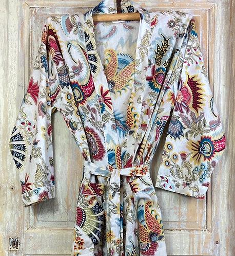 Kimono imprimé fleuri écru