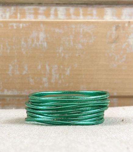 "Bracelet Bouddhiste fin ""vert émeraude"""