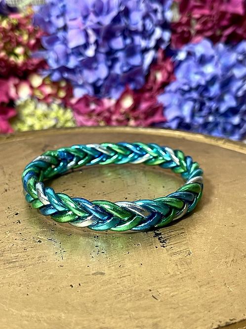Bracelet tressé Mix (Bleu Glacier/Bleu Saphir/Bleu Azur/Vert Emeraude/Green)