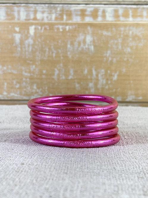 Bracelet bouddhiste Mantra épais Fuchsia (qualité supérieure)