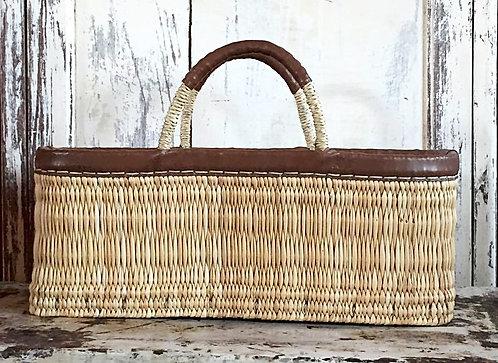 Le grand panier en paille et cuir XL  / 2 coloris
