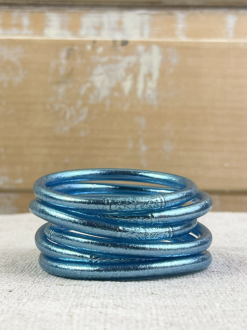 """Bracelet Bouddhiste mantra épais """"bleu glacier"""""""