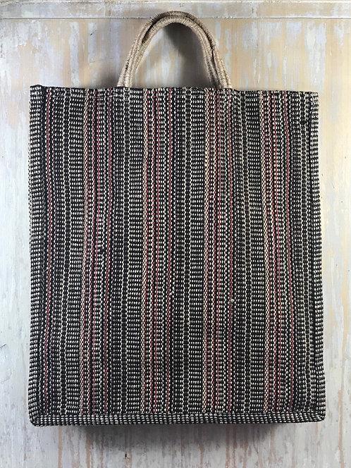cabas en toile de jute à fines rayures noir/naturel/rouge/kaki/brun