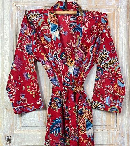 Kimono imprimé fleuri rouge