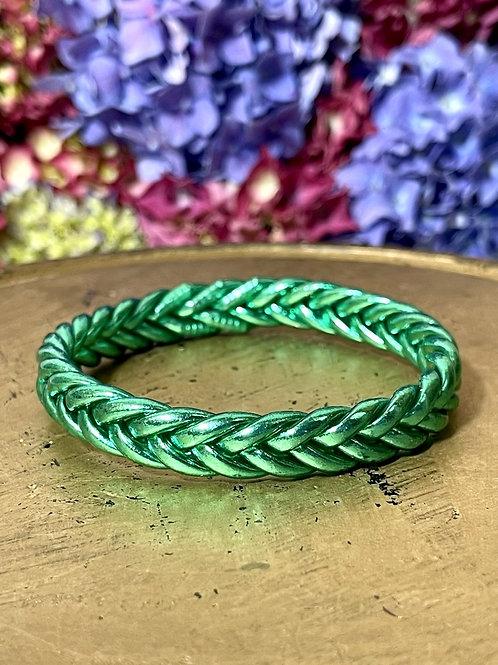 Bracelet bouddhiste tressé version Vert Emeraude (Exclusivité Maison Izel)