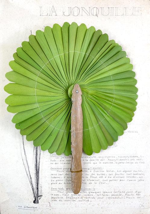 Eventail Cambodgien taille L (vert clair)