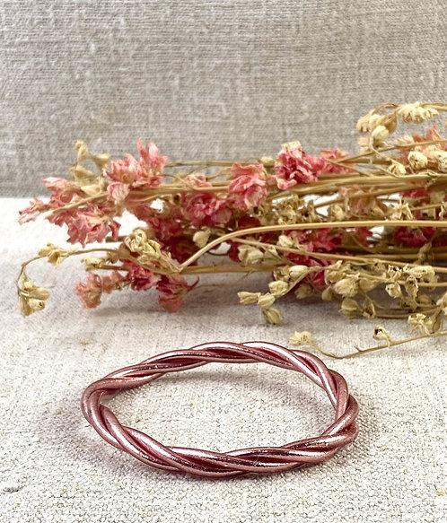 Bracelet Bouddhiste torsadé version rose