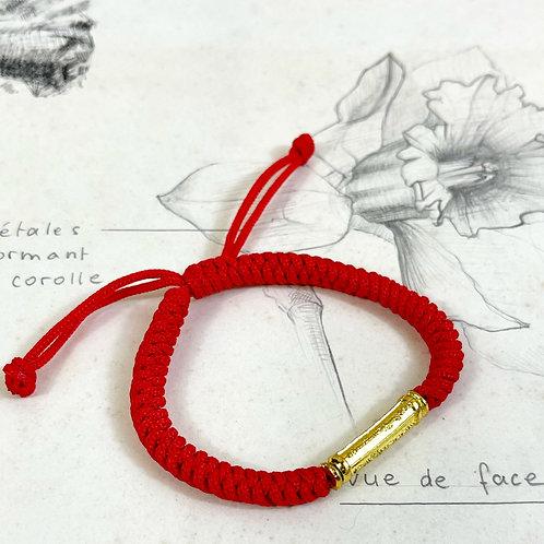 Bracelet Bouddhiste mantra corde tressée porte bonheur (rouge)