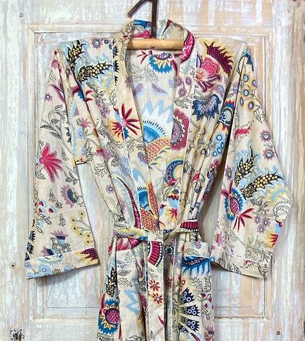 Kimono imprimé fleuri sépia