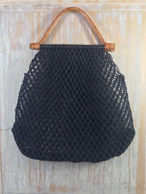 sac macramé noir anses bambou