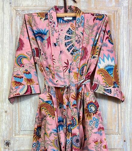 Kimono imprimé fleuri rose
