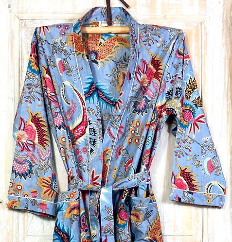 Kimono imprimé fleuri gris bleuté