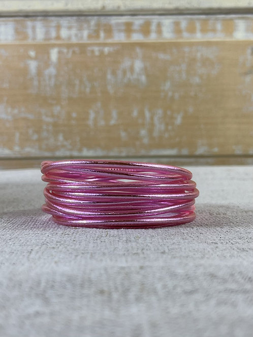 Bracelet bouddhiste fin Light Pink (qualité supérieure)