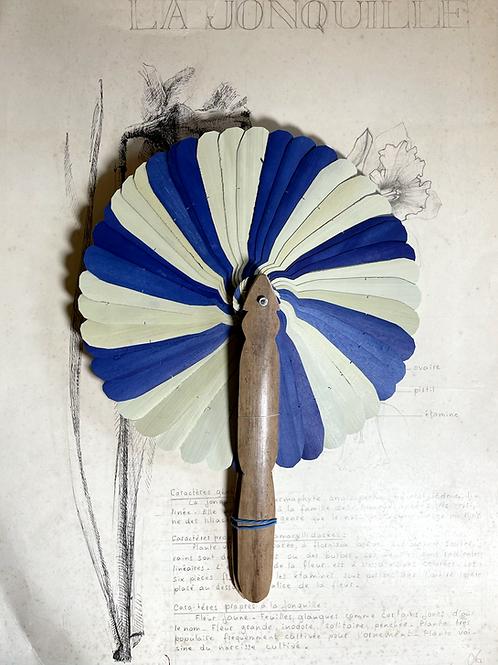 Eventail cambodgien (naturel / bleu) 2/2