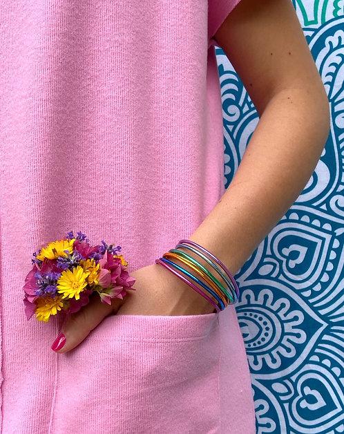 Bracelets Rainbow Mantra fins  (lot de 7 bracelets) Qualité supérieure