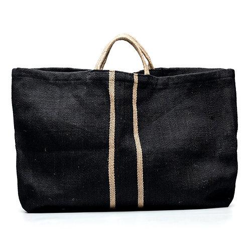 Grand sac cabas noir / rayures naturelles