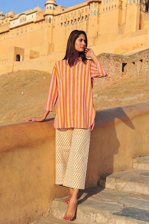 grande chemise SZ Guru à rayures camel et rose