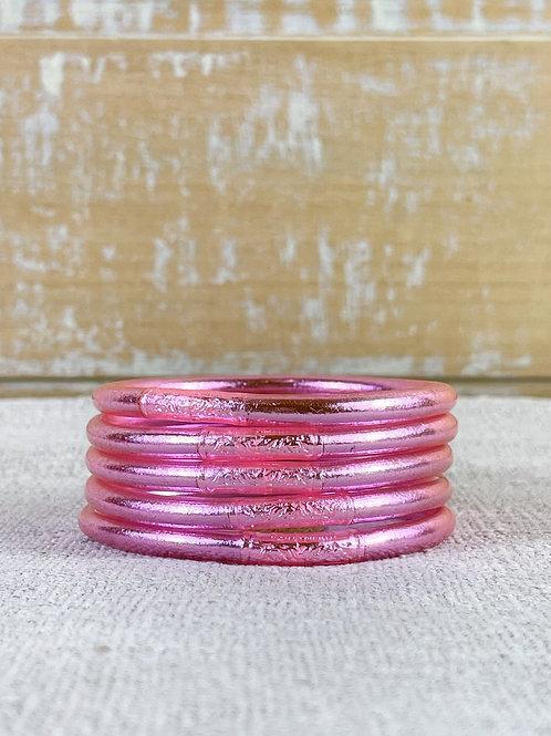 Bracelet bouddhiste Mantra épais version Light Pink (qualité supérieure)