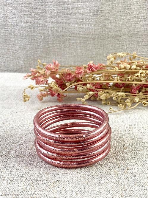 Bracelet Bouddhiste Mantra version pink gold épais (qualité supérieure)