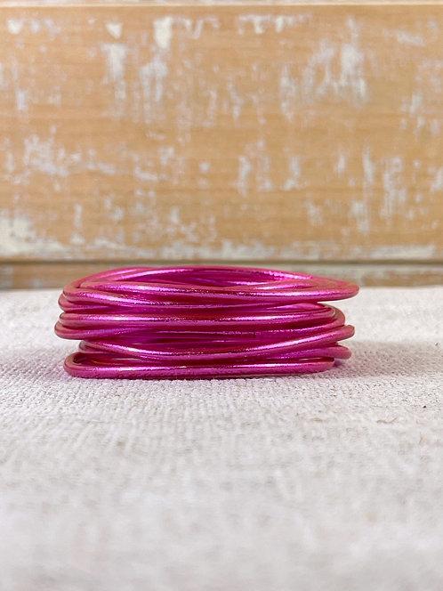 Bracelet bouddhiste fin Fuchsia (qualité supérieure)