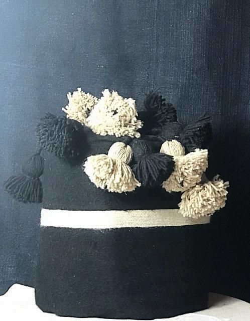 Couverture en laine noire bandes naturelles