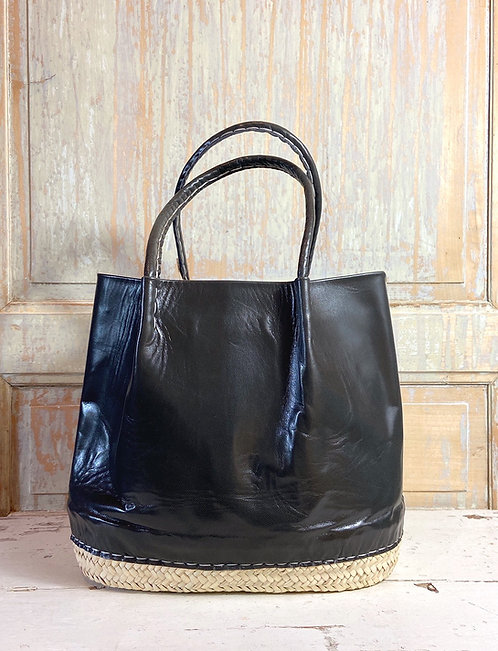 Le grand sac panier cuir Nouss Nouss marron glacé