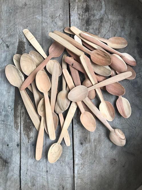 lot de 2 petites cuillères en bois d'abricotier