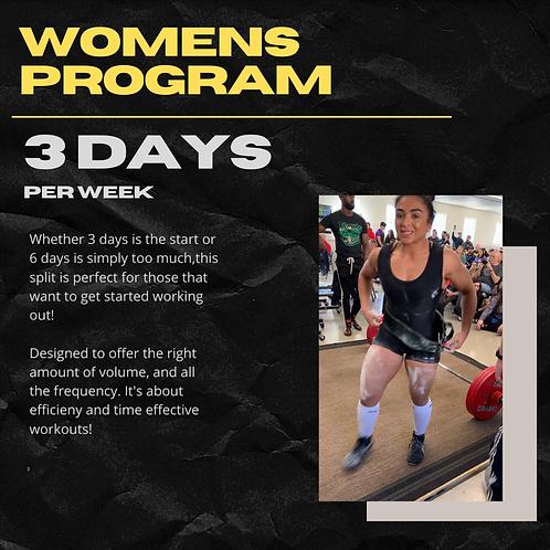Women's Training Program - 3 Days Per Week