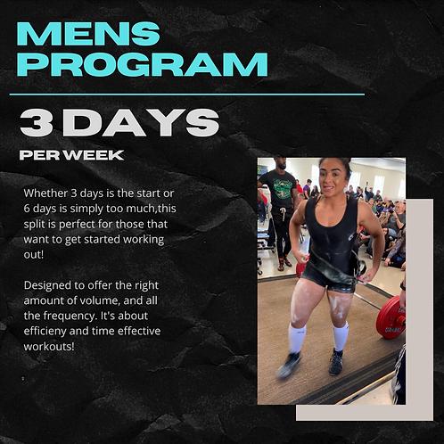 Mens Training Program - 3 Days Per Week