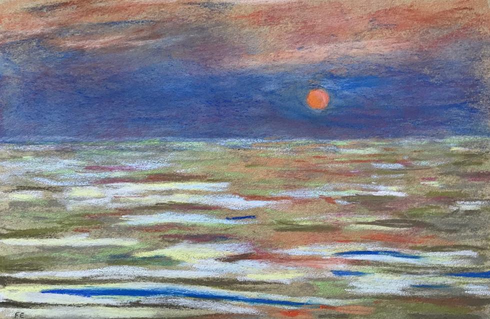 Lever de lune- Pastel
