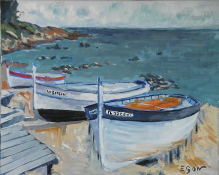 Barques à Fabregas - Huile sur toile 41x33