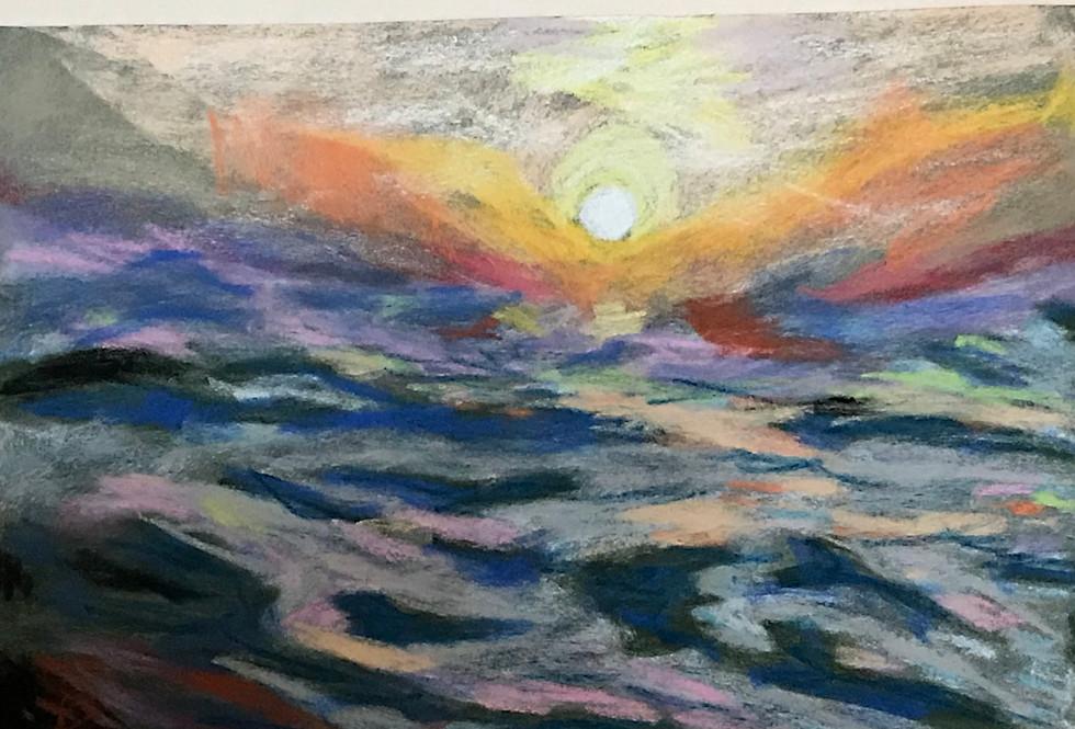 En haute mer - Pastel