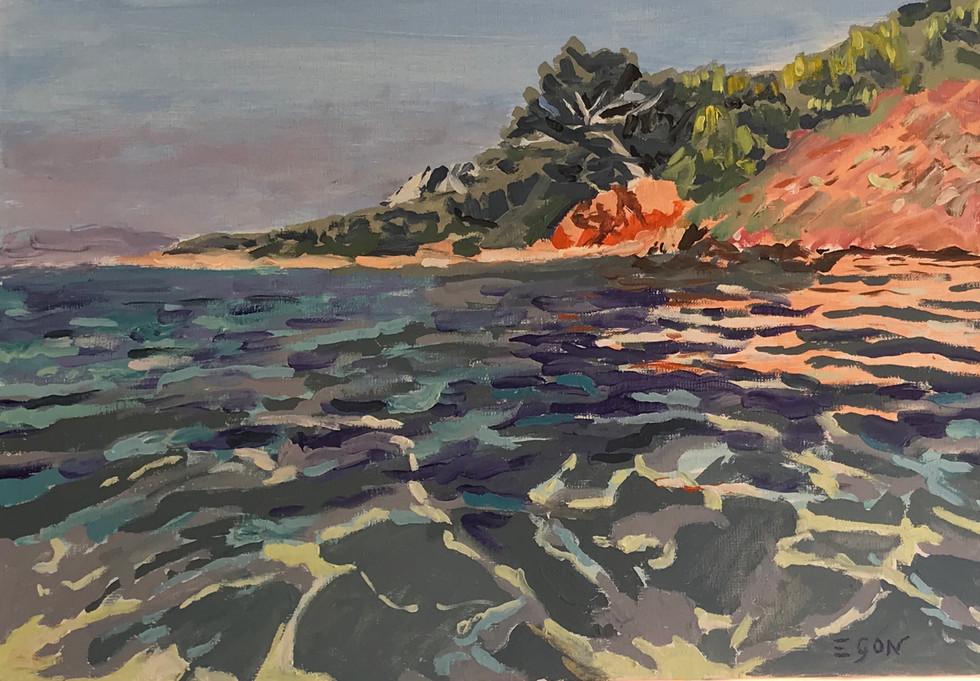 Les pieds dans l'eau - Huile sur toile 55 x 38
