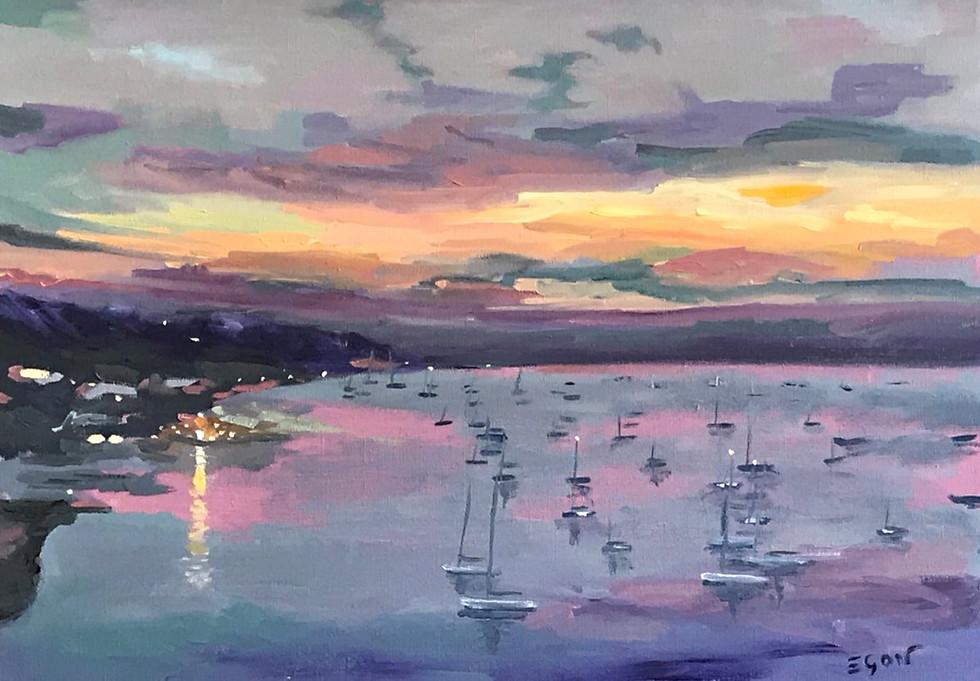 St Tropez- nuit tombante- huile sur toile 65x46