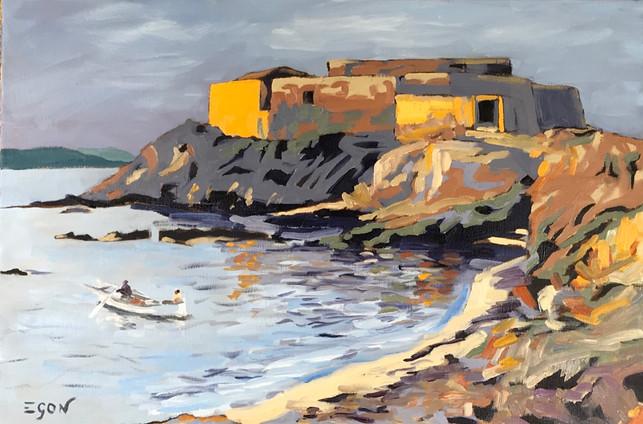 Giens - fort du Pradeau - huile sur toile 80x54