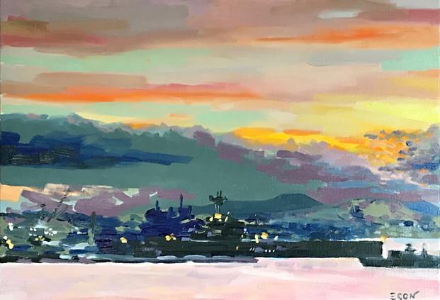 Lever du jour sur Toulon - huile sur toile 65x46