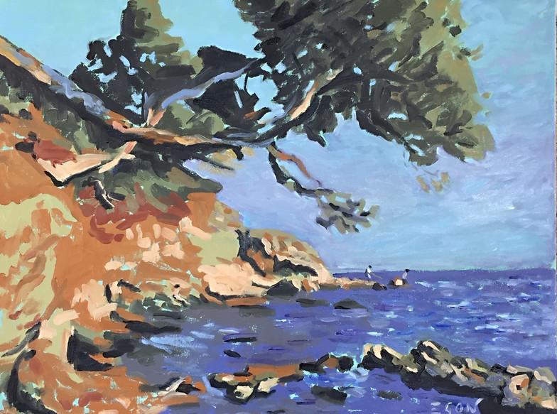 Les rochers du cap Brun - huile sur toile 65x54