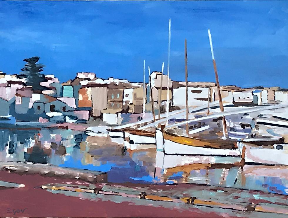 Port méditerranéen-huile sur toile 73x54