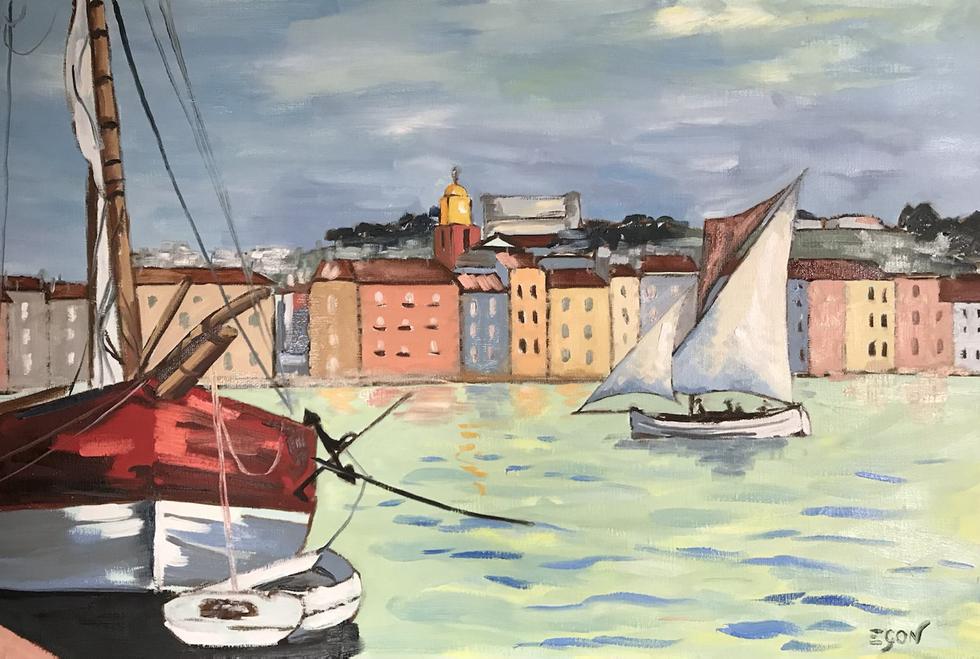 Saint-Tropez . Huile sur toile 81x54