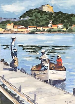 Retour de pêche-Huile sur toile 46x33