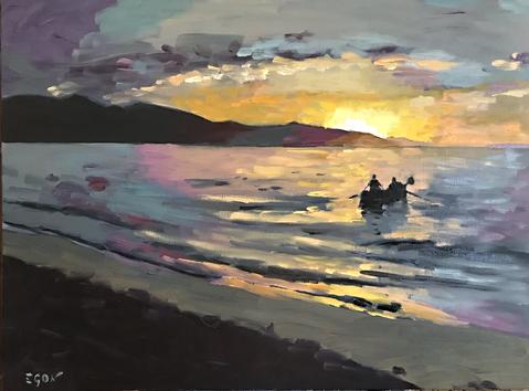 Lever de soleil sur la baie - Huile sur toile 73x54