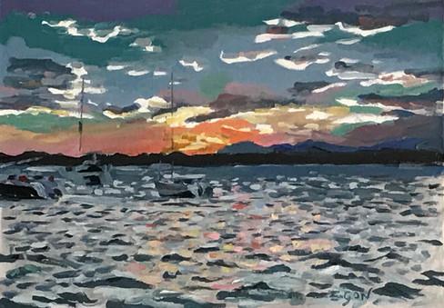 La Badine - soleil couchant - Huile sur toile 46x33