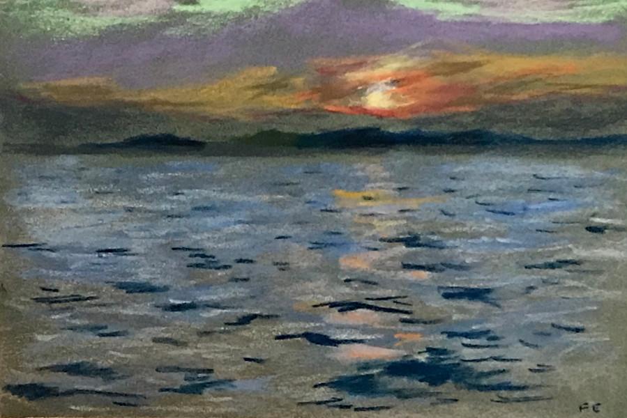 coucher de soleil sur Giens - pastel
