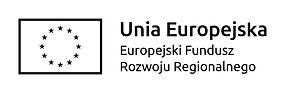 logo czarno białe flaga unii europejskiej oraz napis unia europejska, europejski fundusz rozwoju regionalnego